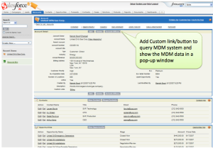 Custom actions in CRM/ERP applications to query and display MDM data